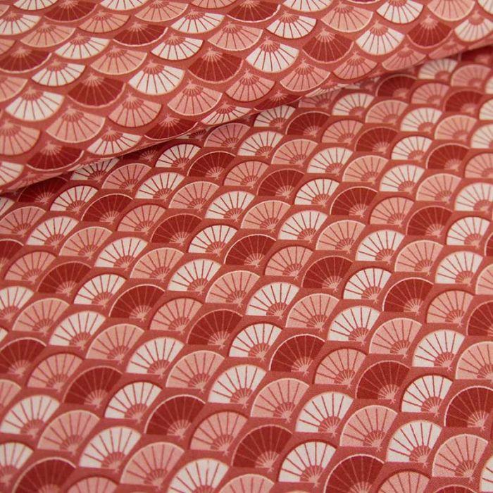 Tissu popeline coton éventails - brique x 10cm