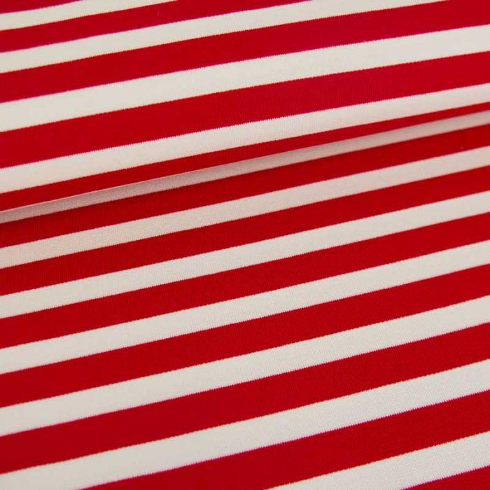 Tissu jersey punto viscose rayures - rouge x 10 cm