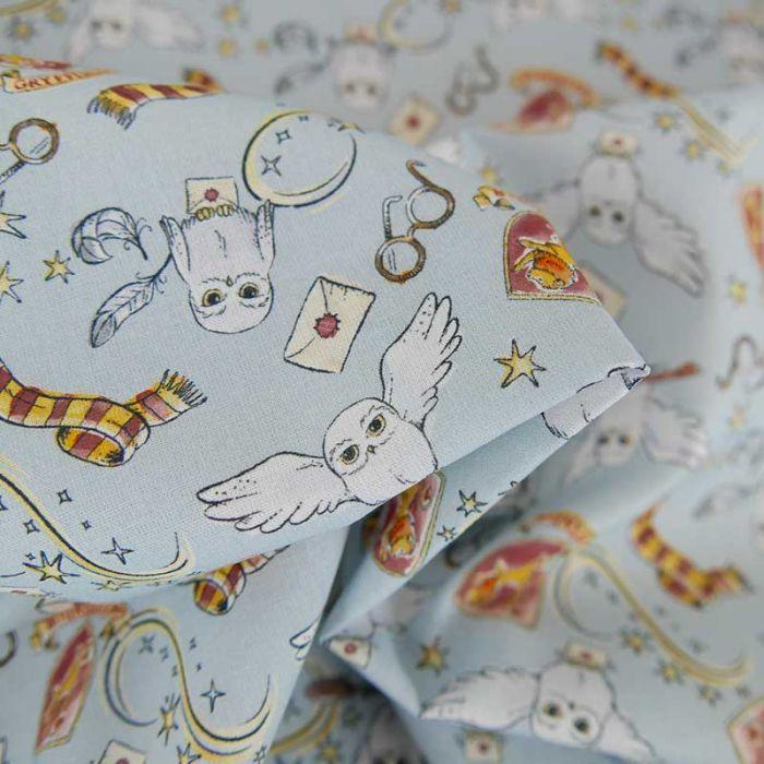 Tissu popeline de coton Hedwige Harry Potter - bleu clair x 10cm