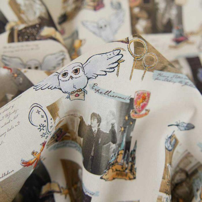 Tissu popeline de coton Harry Potter - beige x 10cm