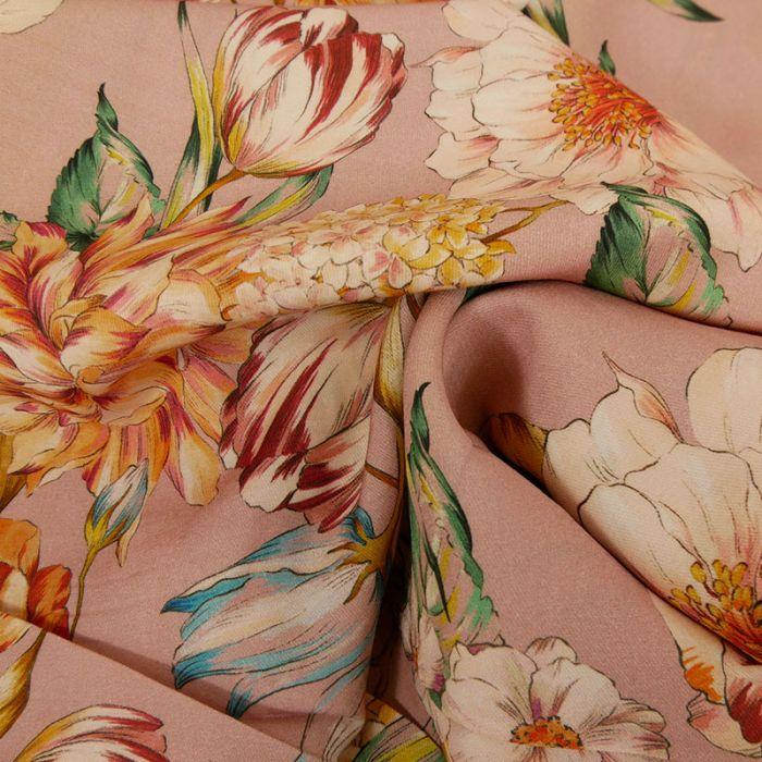 Tissu viscose bouquet de fleurs - vieux rose x 10 cm