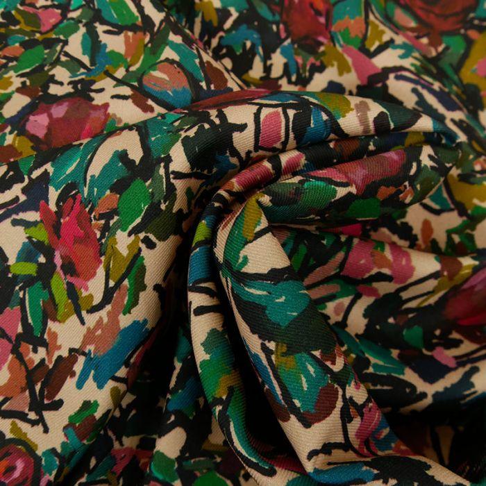 Tissu twill coton viscose coloriage fleurs - beige x 10cm