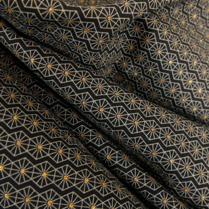 Tissu jersey alvéoles brillant Oeko-Tex - noir x 10 cm