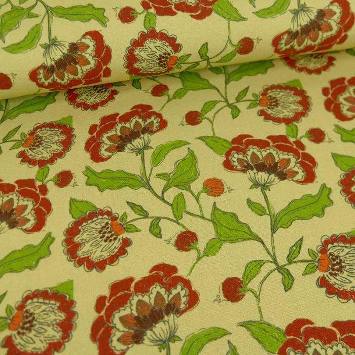Tissu viscose lin grandes fleurs - jaune  x 10 cm