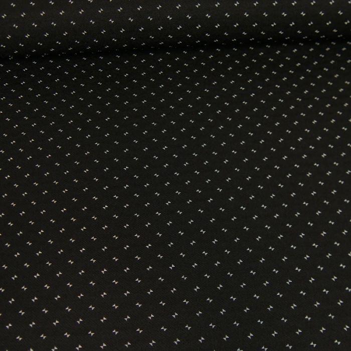 Tissu bengaline viscose petits noeuds - noir x 10 cm