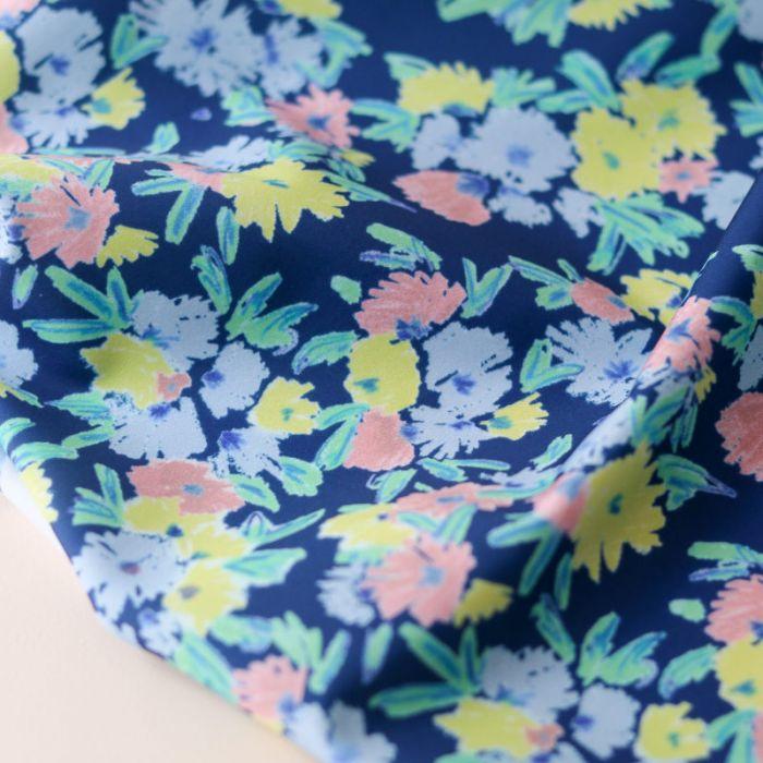 Tissu lycra maillot de bain Blue Garden - Lise Tailor x 10 cm