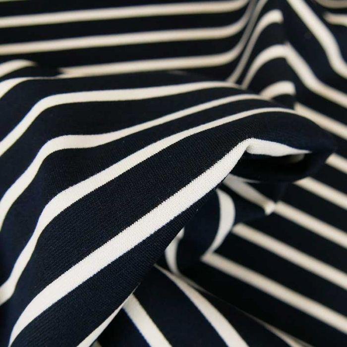 Tissu jersey punto viscose rayures - bleu marine x 10 cm