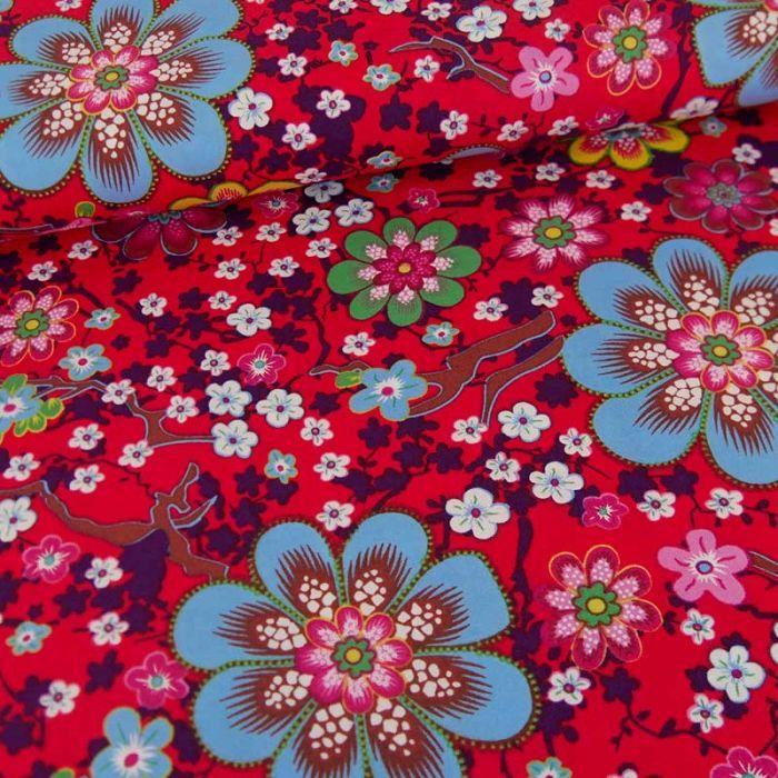 Tissu popeline coton fleurs de cerisier - rouge x 10cm