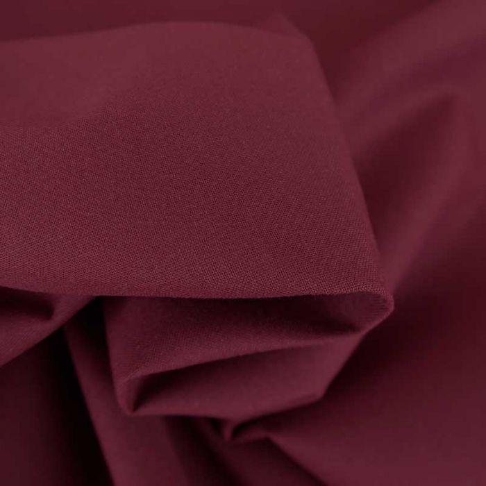 Tissu cretonne bio uni - bordeaux x 10cm