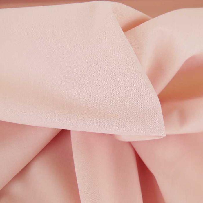 Tissu cretonne bio uni - rose poudré x 10cm