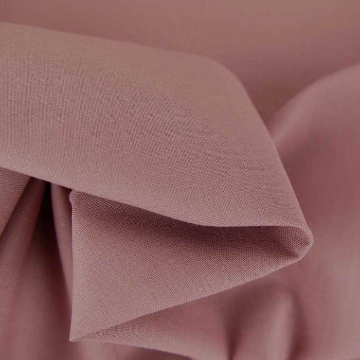 Tissu cretonne bio uni - vieux rose x 10cm