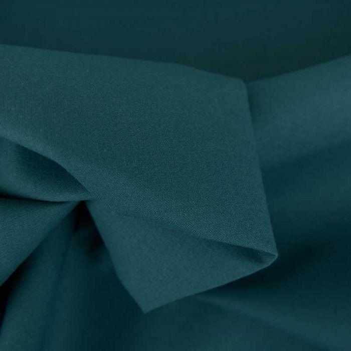 Tissu cretonne bio uni - bleu pétrole x 10cm