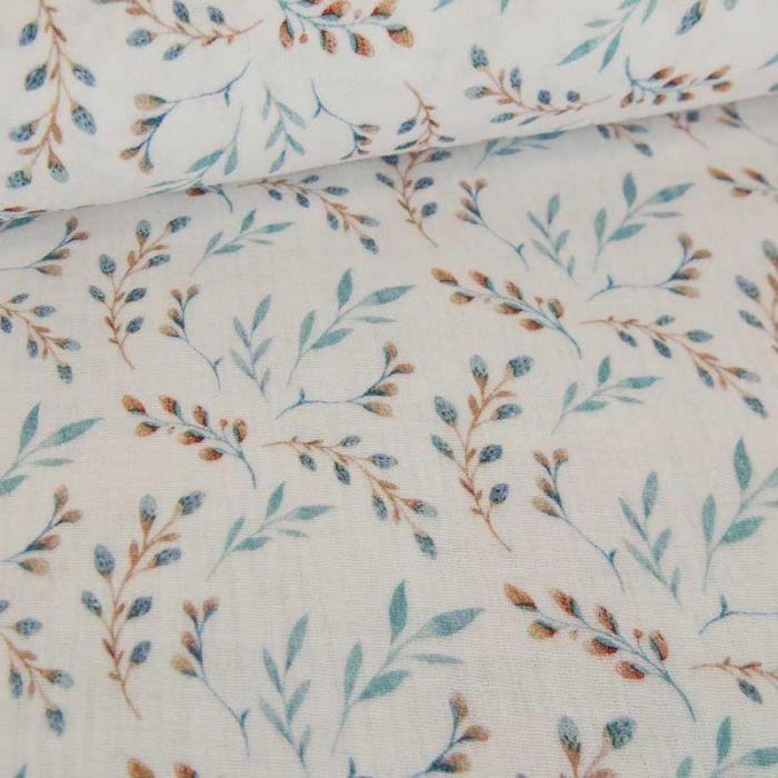 Tissu double gaze brindilles Oeko-tex - blanc x 10 cm
