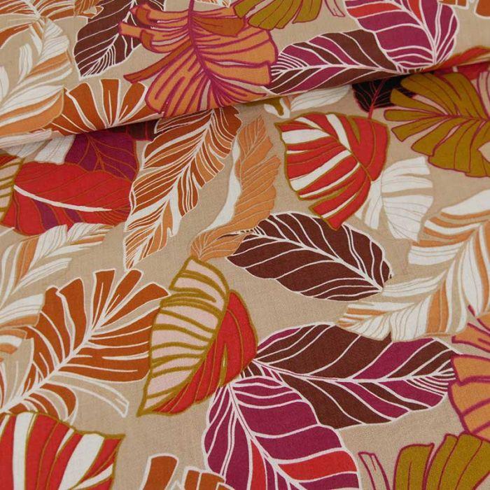 Tissu viscose feuillages tropicales - brun clair