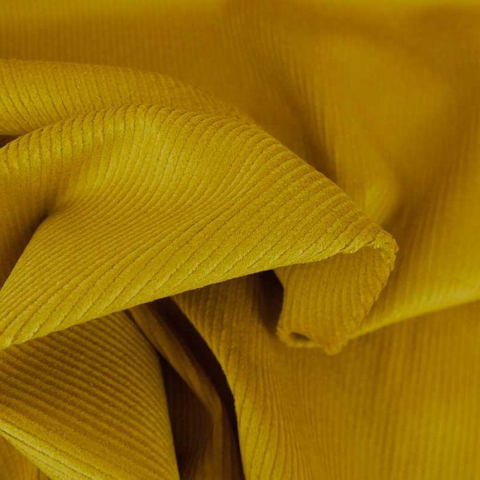 Tissu velours côtelé uni - moutarde x 10 cm