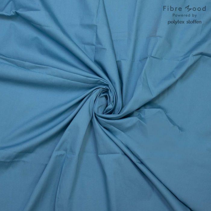 Tissu popeline de coton bleu adriatique - Fibre Mood x 10 cm