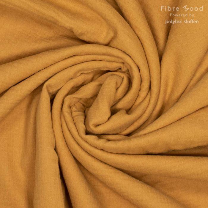 Tissu double gaze de coton jaune moutarde - Fibre Mood x 10 cm