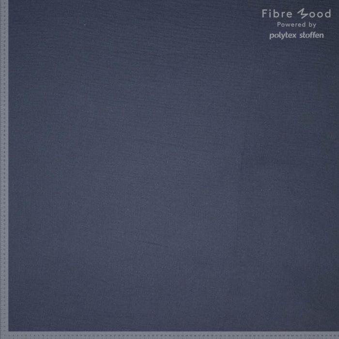 Tissu double gaze de coton bleu marine - Fibre Mood x 10 cm