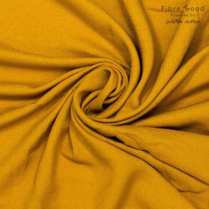 Tissu crêpe de viscose jaune moutarde - Fibre Mood x 10 cm