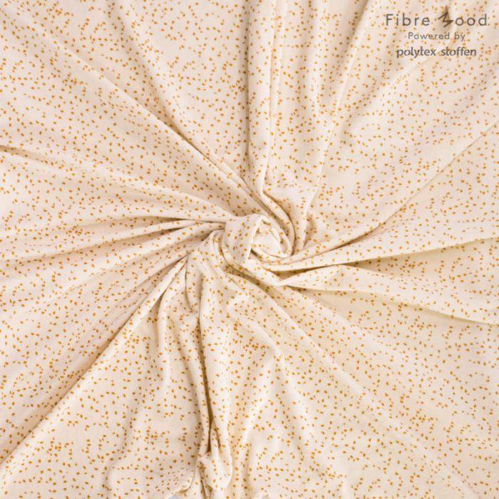 Tissu éponge stretch pois moutarde - Fibre Mood x 10 cm