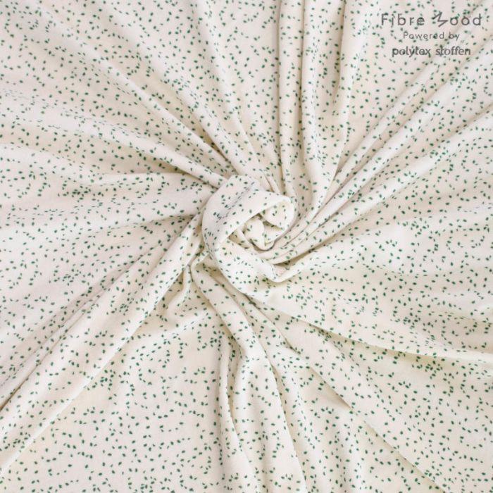 Tissu éponge stretch pois vert - Fibre Mood x 10 cm