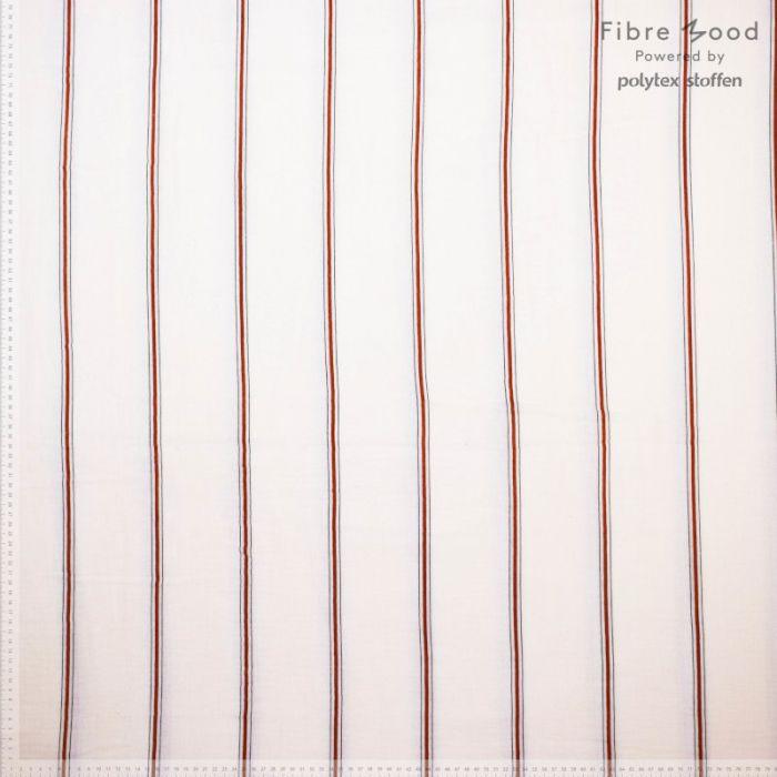 Tissu double gaze rayures rouges - Fibre Mood x 10 cm