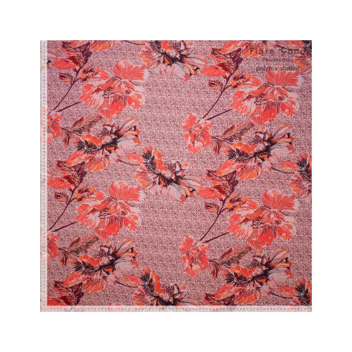 Tissu crêpe de viscose fleurs pavots orange - Fibre Mood x 10 cm