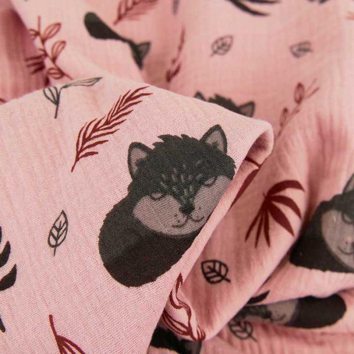 Tissu double gaze renards dormeurs - rose x 10 cm