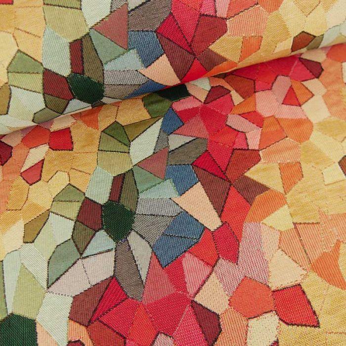 Tissu jacquard vitrail multicolore x 10 cm