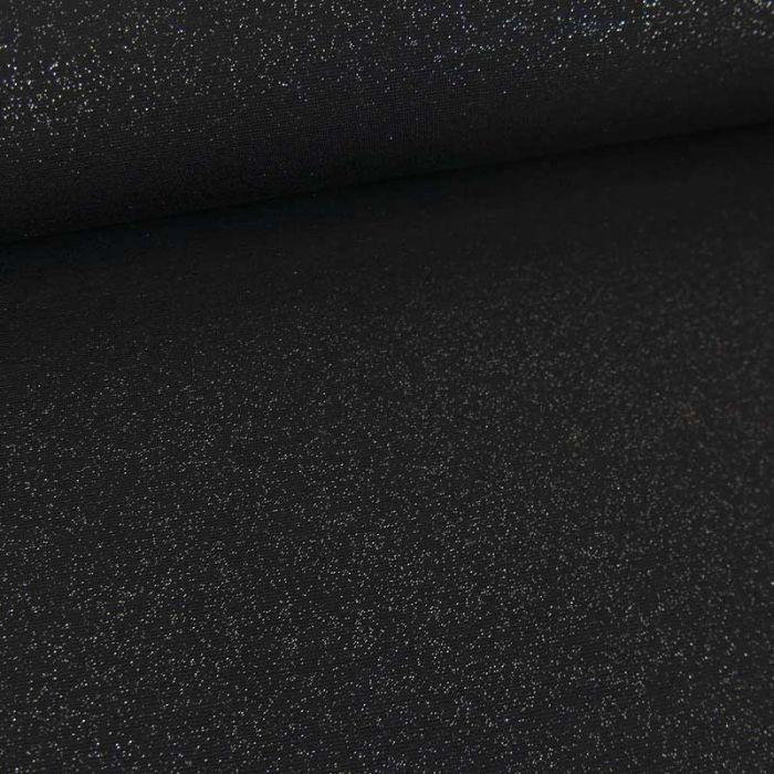 Tissu jersey punto viscose paillettes argentées - noir x 10 cm