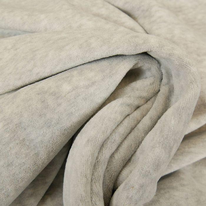 Tissu jersey pilou velours - gris clair x 10 cm