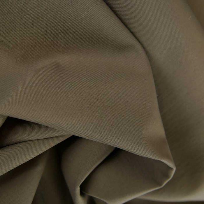 Tissu gabardine sergé haute couture - kaki x 10cm