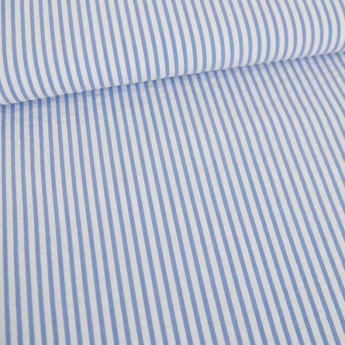 Tissu seersucker rayures haute couture - bleu x 10 cm
