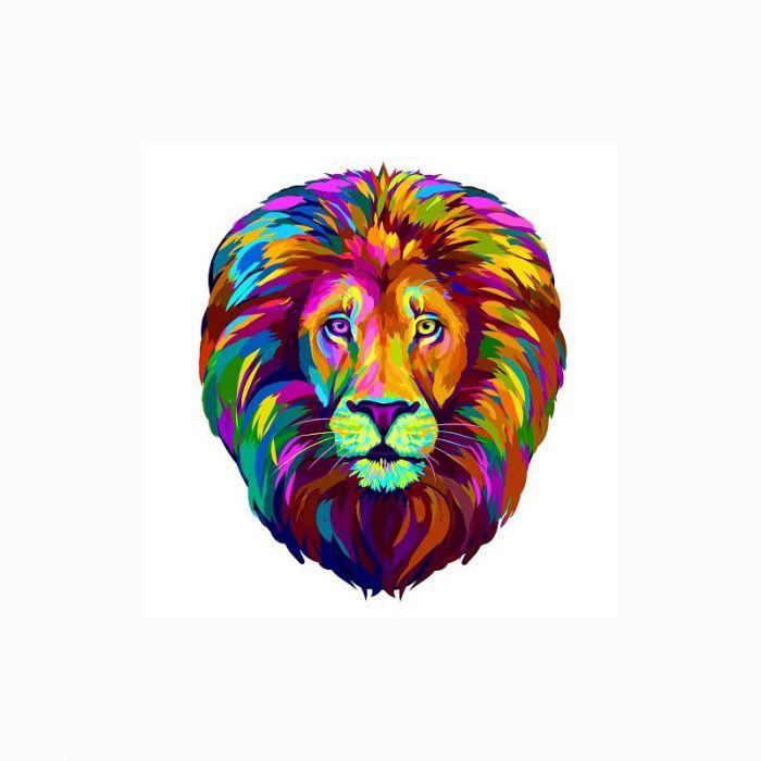 Transfert textile Lion multicolore