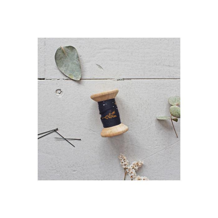 Biais twill de viscose Twig night - Atelier Brunette x 10 cm