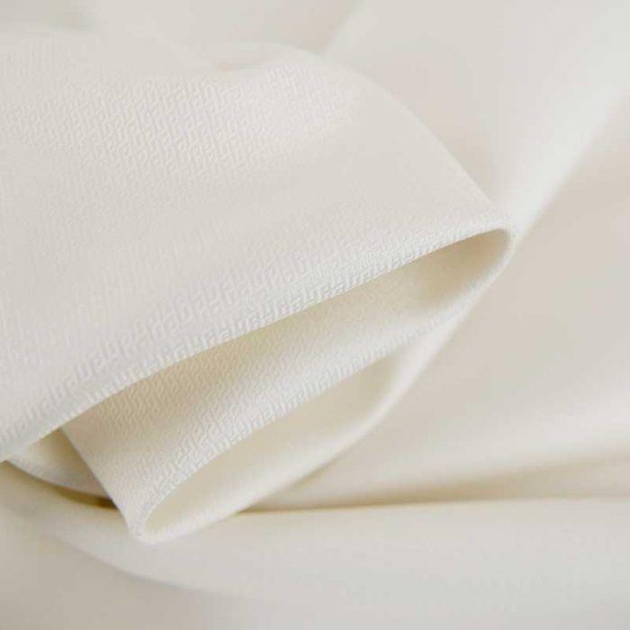 Tissu popeline coton losanges haute couture - blanc x 10 cm