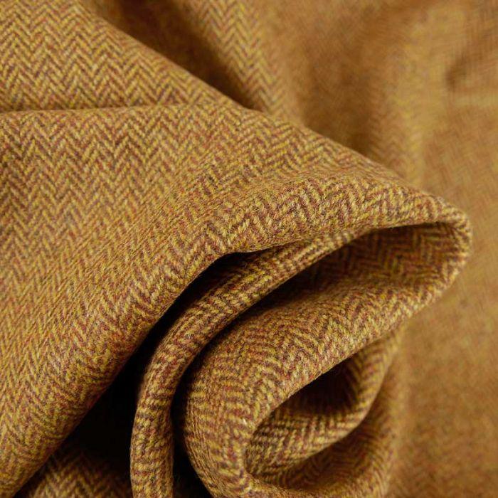 Tissu harris tweed à chevrons laine haute couture - marron x 10 cm