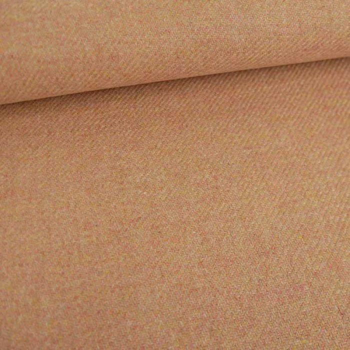 Tissu harris tweed laine haute couture - rose saumon x 10 cm