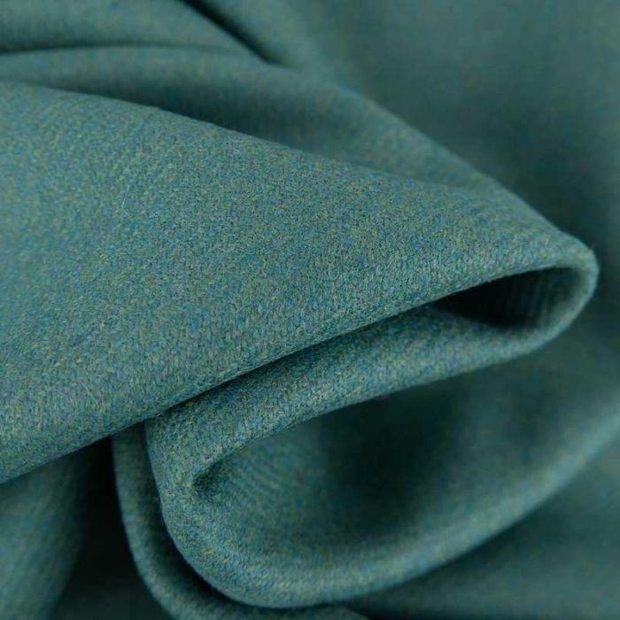 Tissu harris tweed laine haute couture - bleu vert x 10 cm