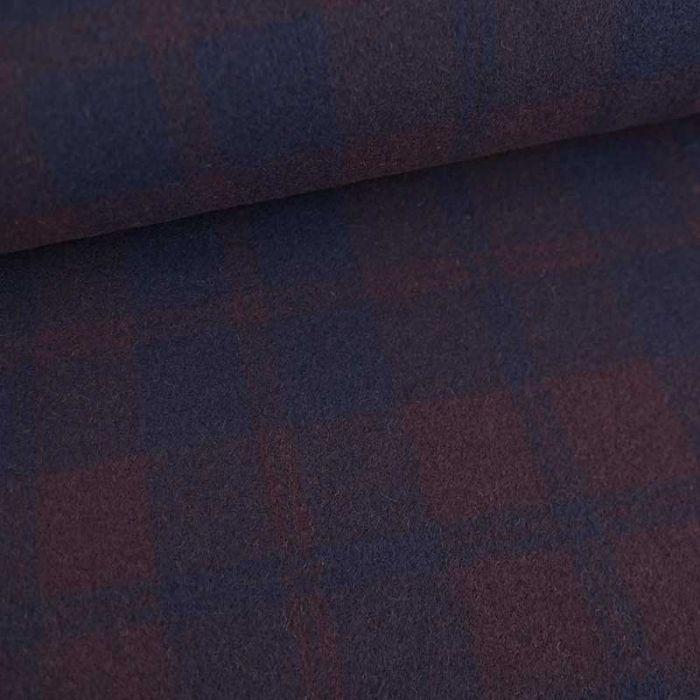 Tissu drap de laine carreaux haute couture - aubergine x 10 cm