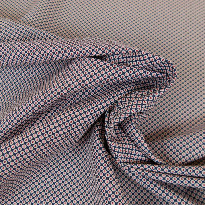 Tissu coton stretch croisillons haute couture - bleu x 10 cm