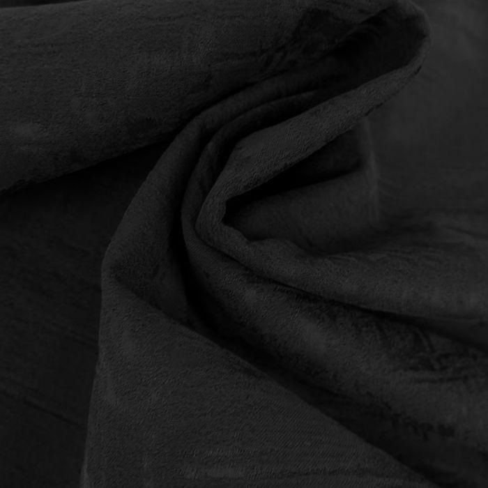 Tissu coton texturé haute couture - noir x 10 cm