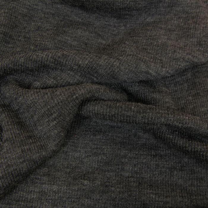 Tissu jersey laine côtelé stretch haute couture - gris foncé x 10 cm
