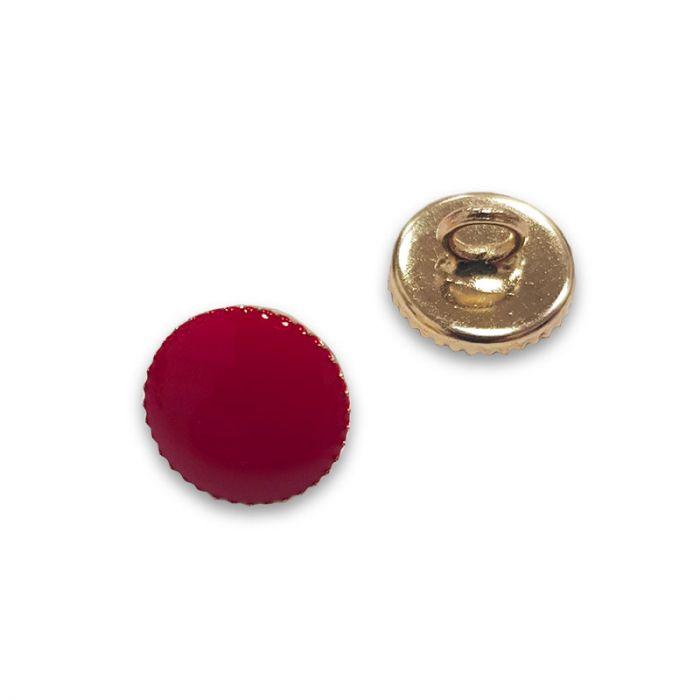 Bouton à pied métal doré - rouge x1