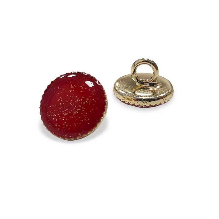 Bouton de bottine à paillettes - rouge x1
