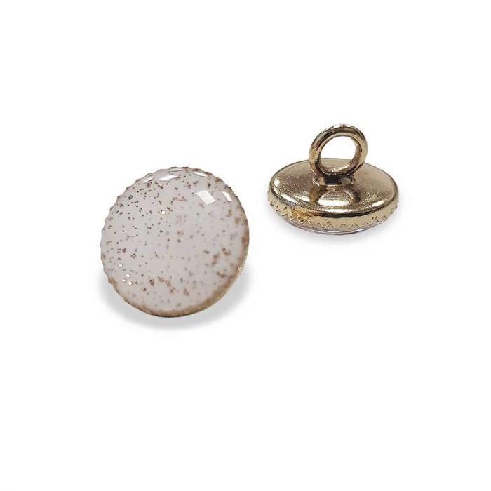 Bouton de bottine à paillettes - blanc x1