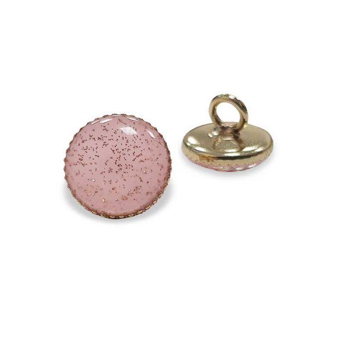 Bouton de bottine à paillettes - rose x1