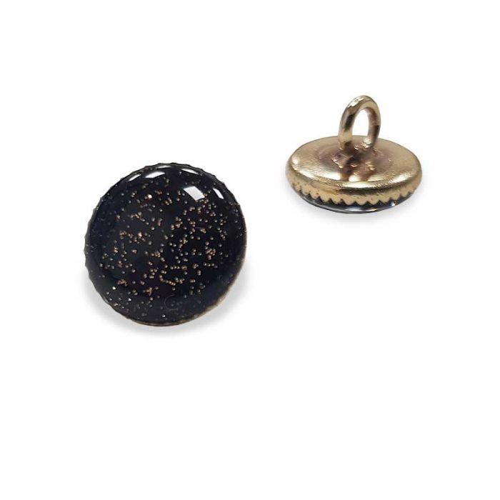 Bouton de bottine à paillettes - noir x1