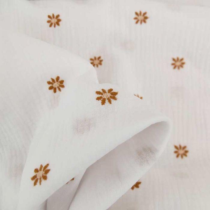 Tissu double gaze marguerites brodées - blanc x 10cm