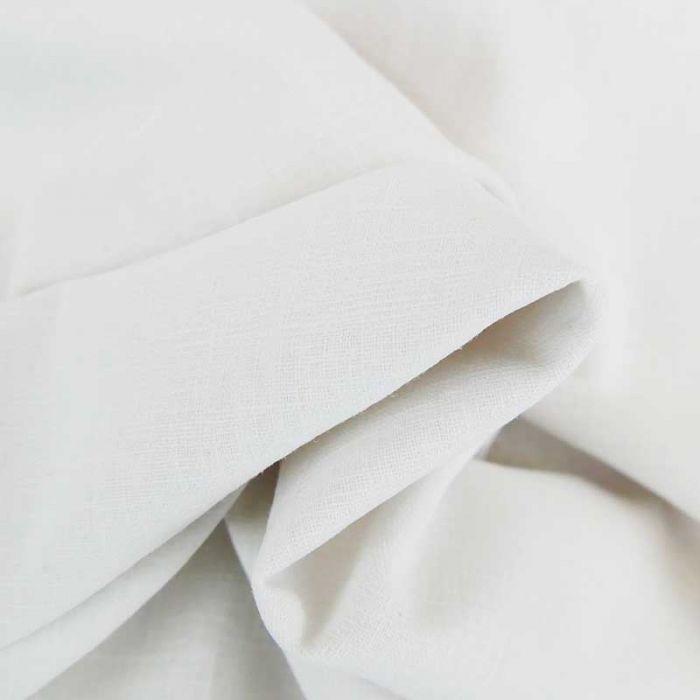 Tissu lin rustique uni haute couture - blanc x 10 cm